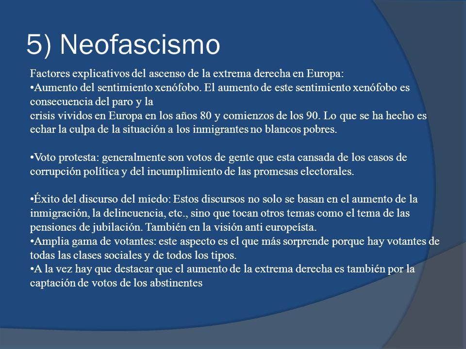 5) Neofascismo Factores explicativos del ascenso de la extrema derecha en Europa: Aumento del sentimiento xenófobo. El aumento de este sentimiento xen