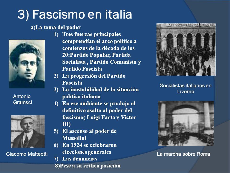 3) Fascismo en italia a)La toma del poder 1)Tres fuerzas principales comprendían el arco político a comienzos de la década de los 20:Partido Popular,