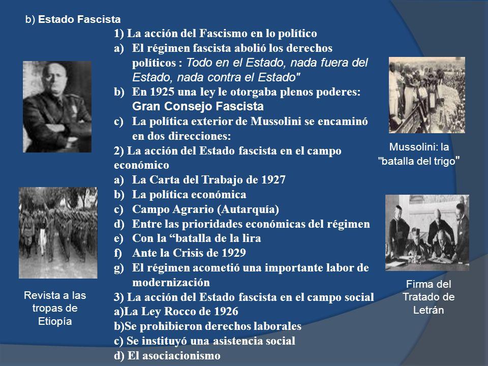 b) Estado Fascista 1) La acción del Fascismo en lo político a)El régimen fascista abolió los derechos políticos : Todo en el Estado, nada fuera del Es