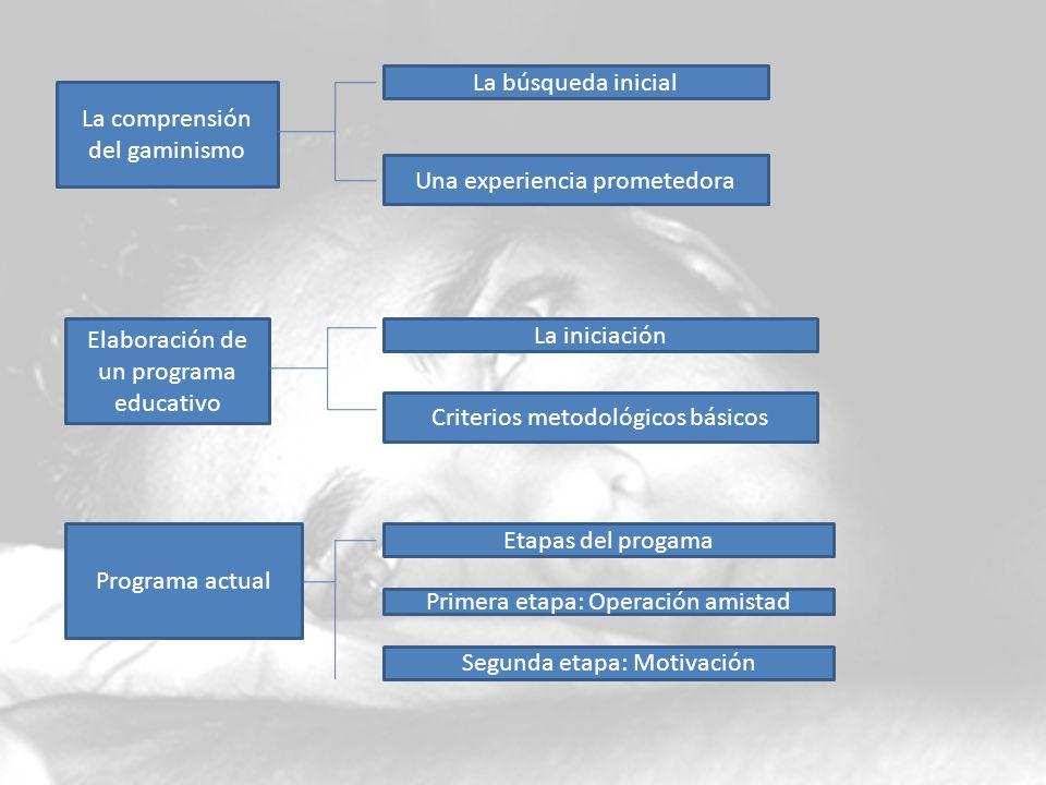 La comprensión del gaminismo La búsqueda inicial Una experiencia prometedora Elaboración de un programa educativo La iniciación Criterios metodológico