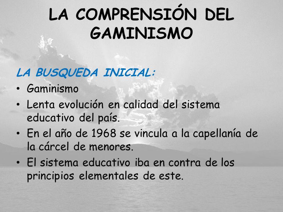 LA COMPRENSIÓN DEL GAMINISMO LA BUSQUEDA INICIAL: Gaminismo Lenta evolución en calidad del sistema educativo del país. En el año de 1968 se vincula a