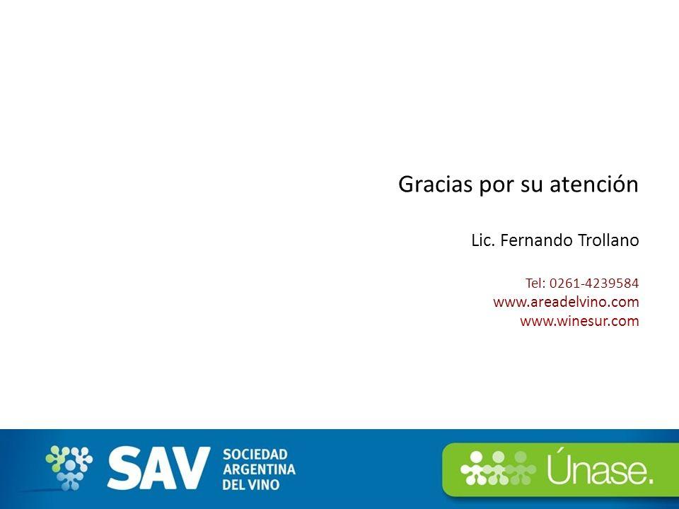 Gracias por su atención Lic. Fernando Trollano Tel: 0261-4239584 www.areadelvino.com www.winesur.com 21