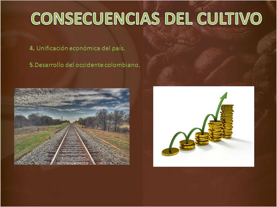 4. Unificación económica del país. 5.Desarrollo del occidente colombiano.