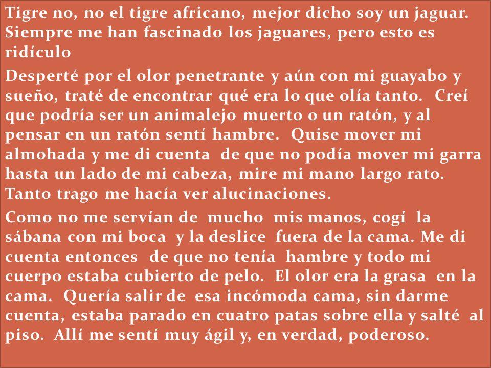 Tigre no, no el tigre africano, mejor dicho soy un jaguar. Siempre me han fascinado los jaguares, pero esto es ridículo Desperté por el olor penetrant