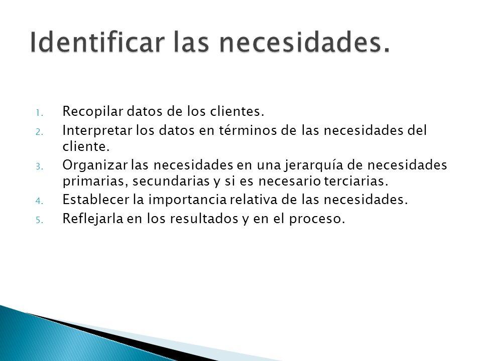 1. Recopilar datos de los clientes. 2. Interpretar los datos en términos de las necesidades del cliente. 3. Organizar las necesidades en una jerarquía
