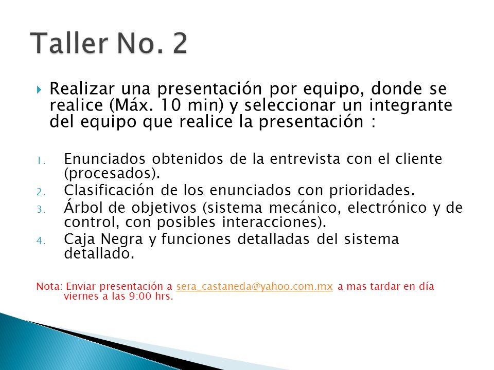 Realizar una presentación por equipo, donde se realice (Máx. 10 min) y seleccionar un integrante del equipo que realice la presentación : 1. Enunciado