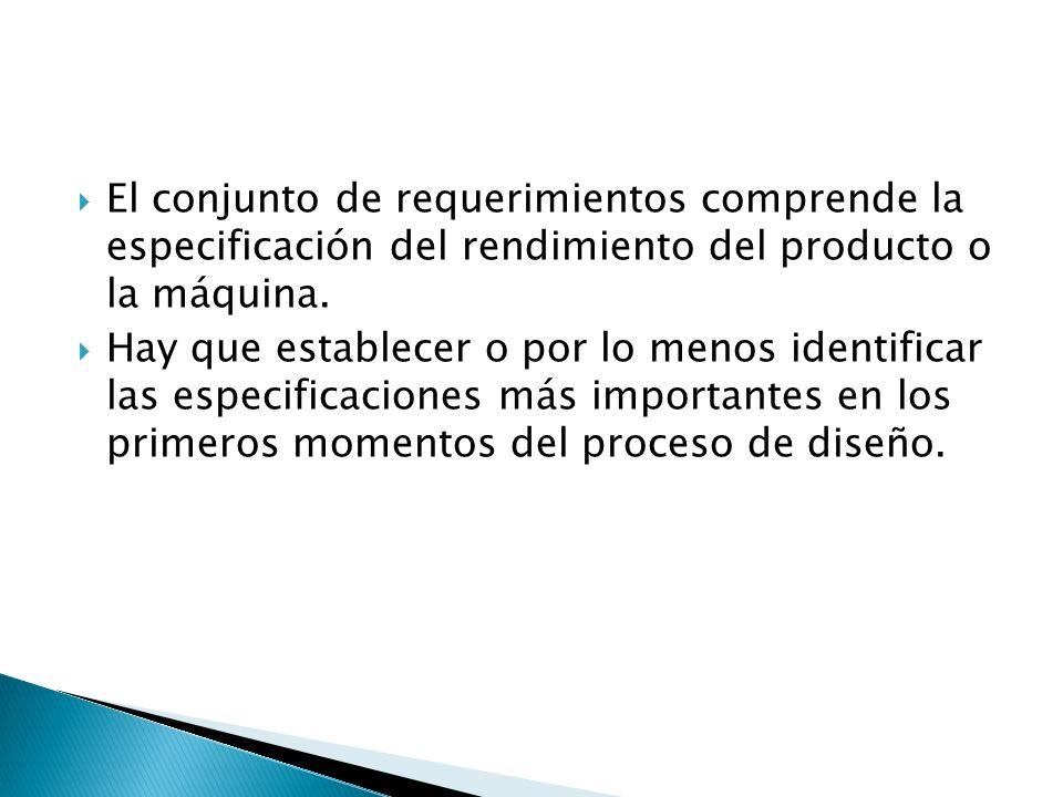 El conjunto de requerimientos comprende la especificación del rendimiento del producto o la máquina. Hay que establecer o por lo menos identificar las