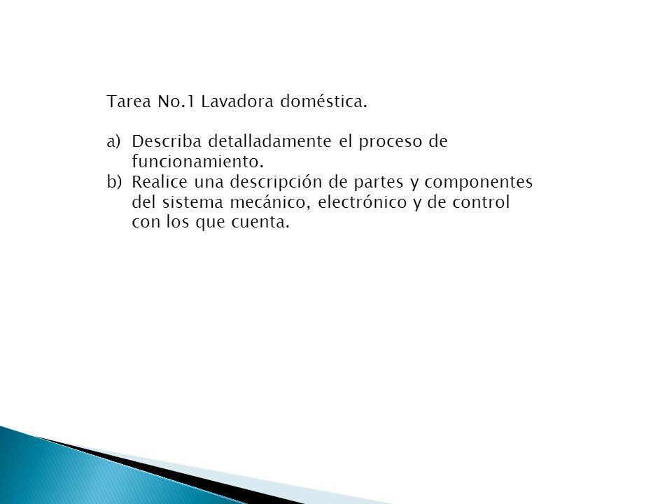 Tarea No.1 Lavadora doméstica. a)Describa detalladamente el proceso de funcionamiento. b)Realice una descripción de partes y componentes del sistema m
