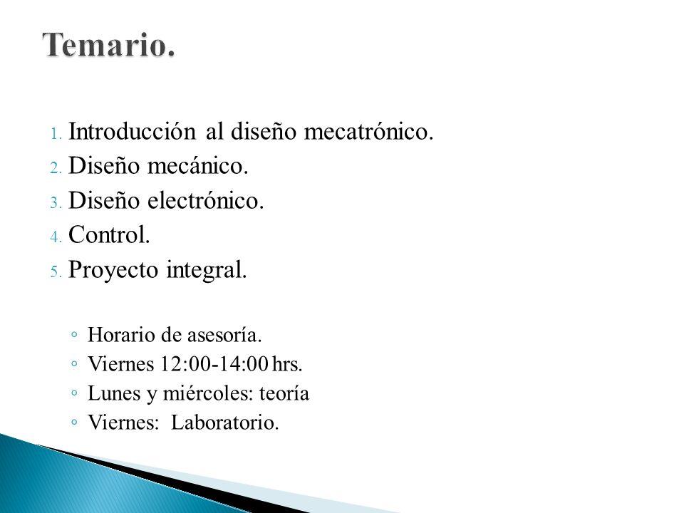 1. Introducción al diseño mecatrónico. 2. Diseño mecánico. 3. Diseño electrónico. 4. Control. 5. Proyecto integral. Horario de asesoría. Viernes 12:00