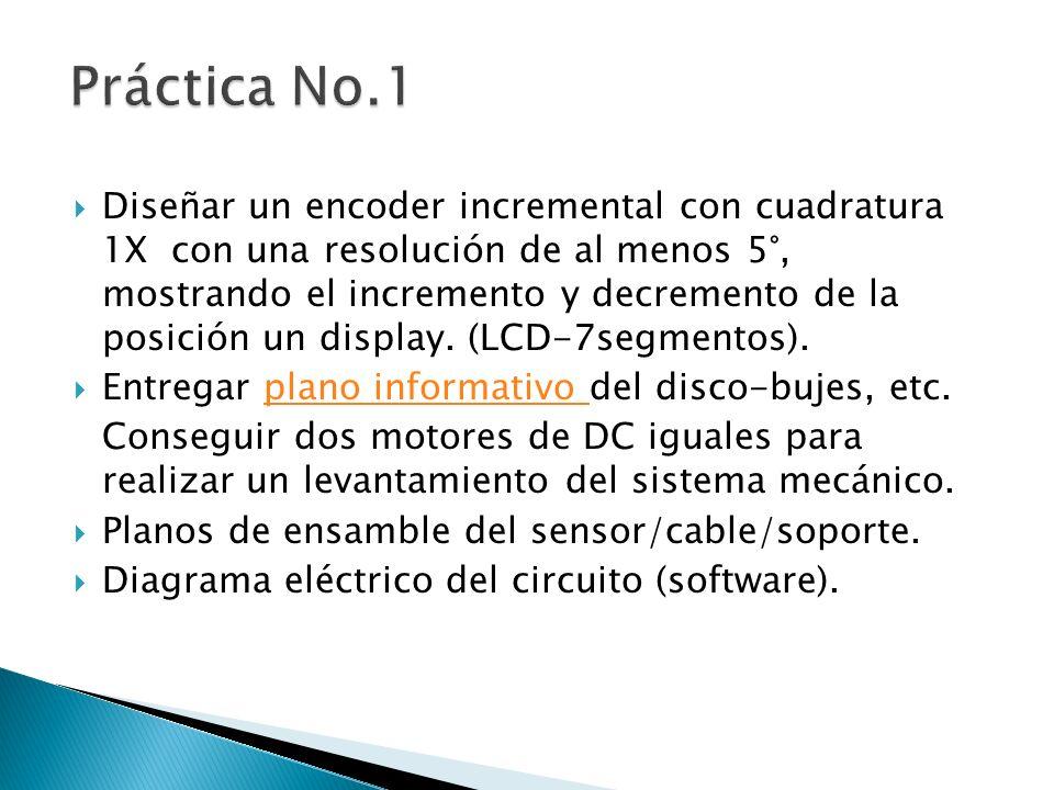Diseñar un encoder incremental con cuadratura 1X con una resolución de al menos 5°, mostrando el incremento y decremento de la posición un display. (L