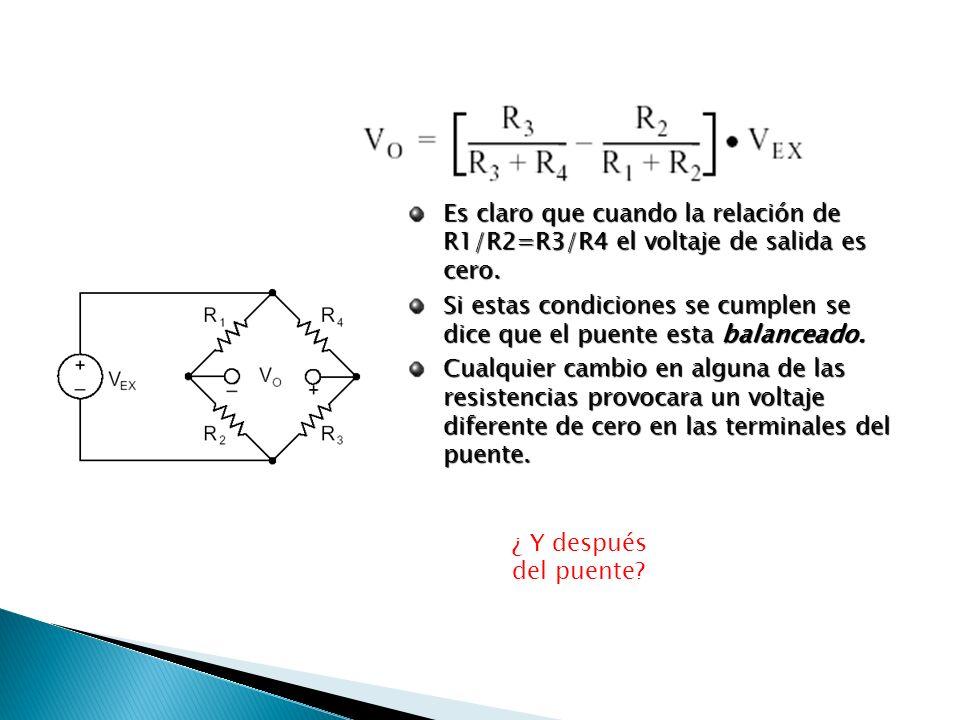 Es claro que cuando la relación de R1/R2=R3/R4 el voltaje de salida es cero. Si estas condiciones se cumplen se dice que el puente esta balanceado. Cu