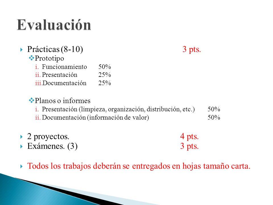 Prácticas (8-10) 3 pts. Prototipo i.Funcionamiento 50% ii.Presentación25% iii.Documentación25% Planos o informes i.Presentación (limpieza, organizació