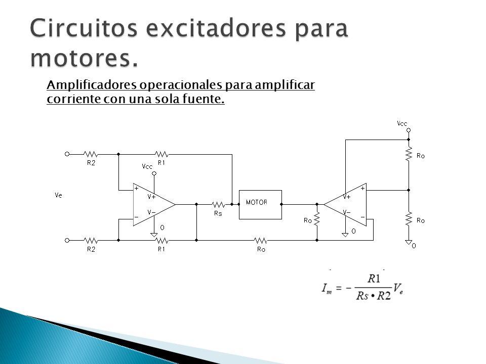 Amplificadores operacionales para amplificar corriente con una sola fuente.