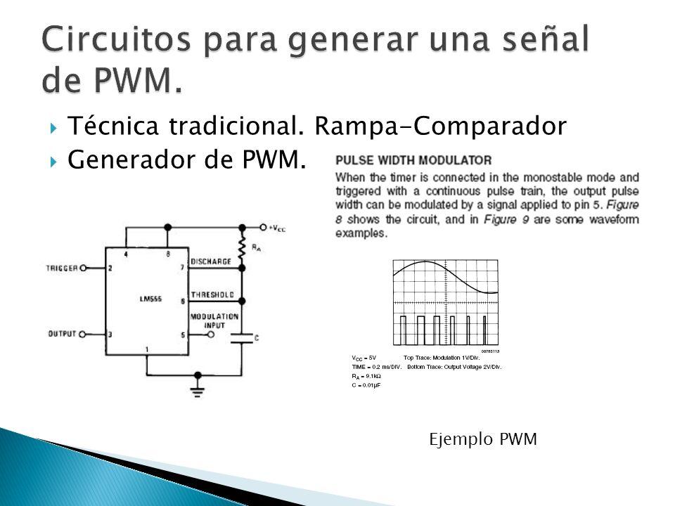 Técnica tradicional. Rampa-Comparador Generador de PWM. Ejemplo PWM