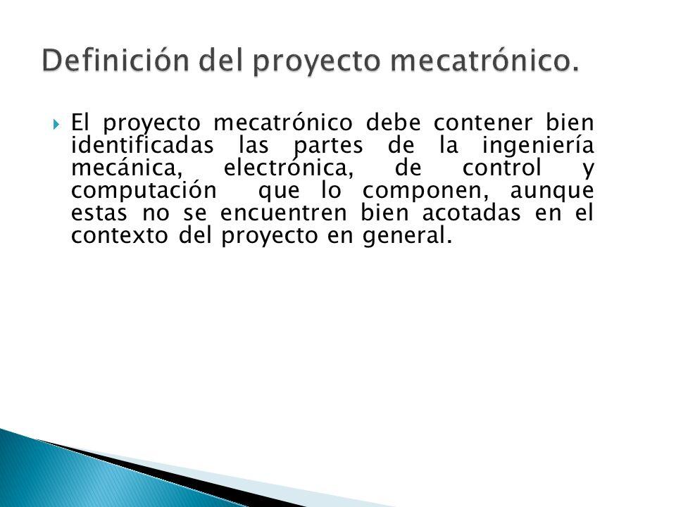 El proyecto mecatrónico debe contener bien identificadas las partes de la ingeniería mecánica, electrónica, de control y computación que lo componen,