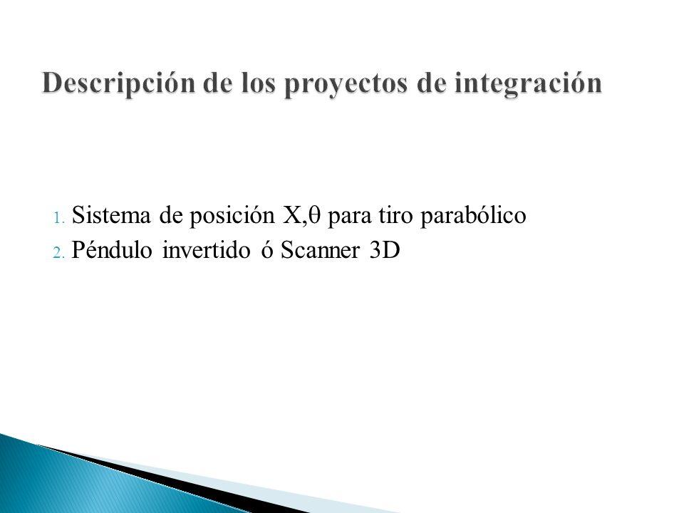 1. Sistema de posición X, para tiro parabólico 2. Péndulo invertido ó Scanner 3D