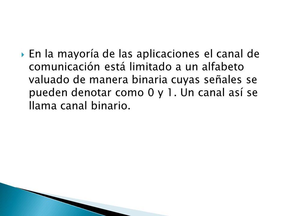 En la mayoría de las aplicaciones el canal de comunicación está limitado a un alfabeto valuado de manera binaria cuyas señales se pueden denotar como
