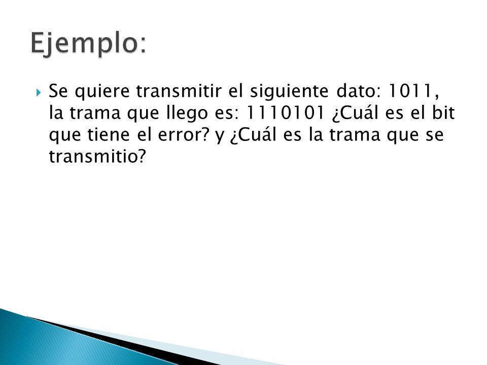 Se quiere transmitir el siguiente dato: 1011, la trama que llego es: 1110101 ¿Cuál es el bit que tiene el error? y ¿Cuál es la trama que se transmitio
