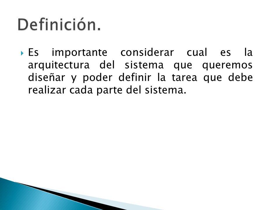 Es importante considerar cual es la arquitectura del sistema que queremos diseñar y poder definir la tarea que debe realizar cada parte del sistema.