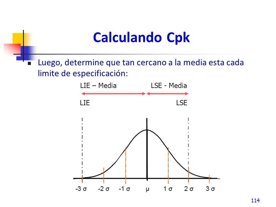 Calculando Cpk Luego, determine que tan cercano a la media esta cada limite de especificación: 114 LIE – Media LSE - Media LIE LSE