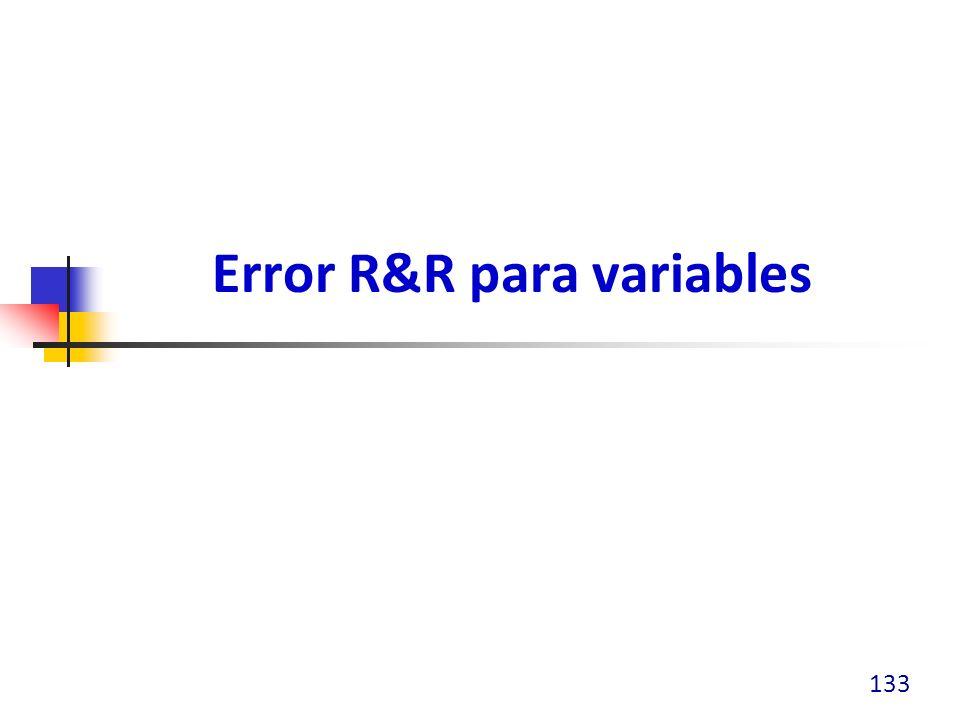 Error R&R para variables 133