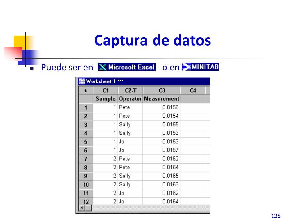 Captura de datos Puede ser en o en 136