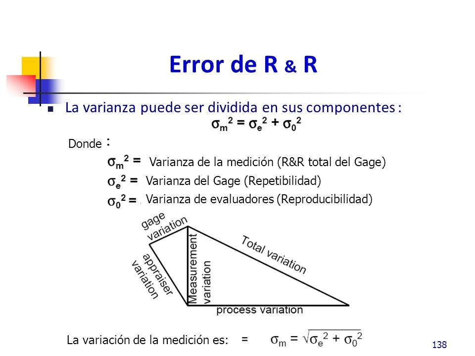 Error de R & R La varianza puede ser dividida en sus componentes : varianza es: 138 Donde Varianza de la medición (R&R total del Gage) Varianza del Gage (Repetibilidad) Varianza de evaluadores (Reproducibilidad) La variación de la medición es: