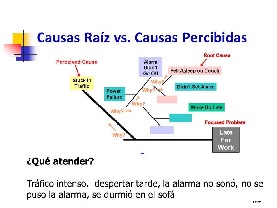 Causas Raíz vs.Causas Percibidas 184 ¿Qué atender.