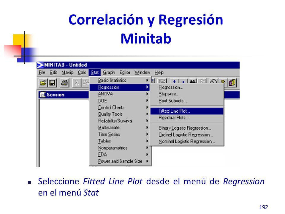 Correlación y Regresión Minitab Seleccione Fitted Line Plot desde el menú de Regression en el menú Stat 192