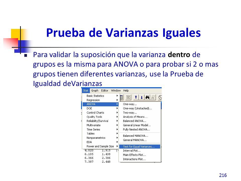 Prueba de Varianzas Iguales Para validar la suposición que la varianza dentro de grupos es la misma para ANOVA o para probar si 2 o mas grupos tienen diferentes varianzas, use la Prueba de Igualdad deVarianzas 216