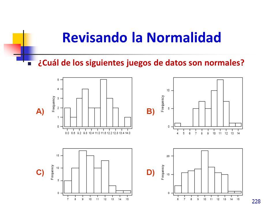 Revisando la Normalidad ¿Cuál de los siguientes juegos de datos son normales? 228