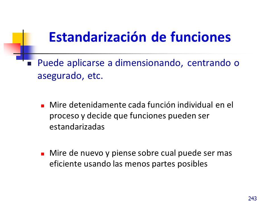 Estandarización de funciones Puede aplicarse a dimensionando, centrando o asegurado, etc.
