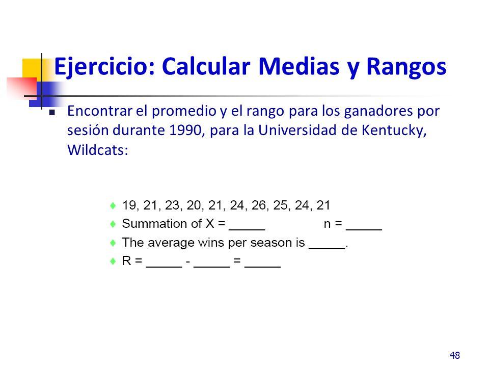 Ejercicio: Calcular Medias y Rangos Encontrar el promedio y el rango para los ganadores por sesión durante 1990, para la Universidad de Kentucky, Wildcats: 48