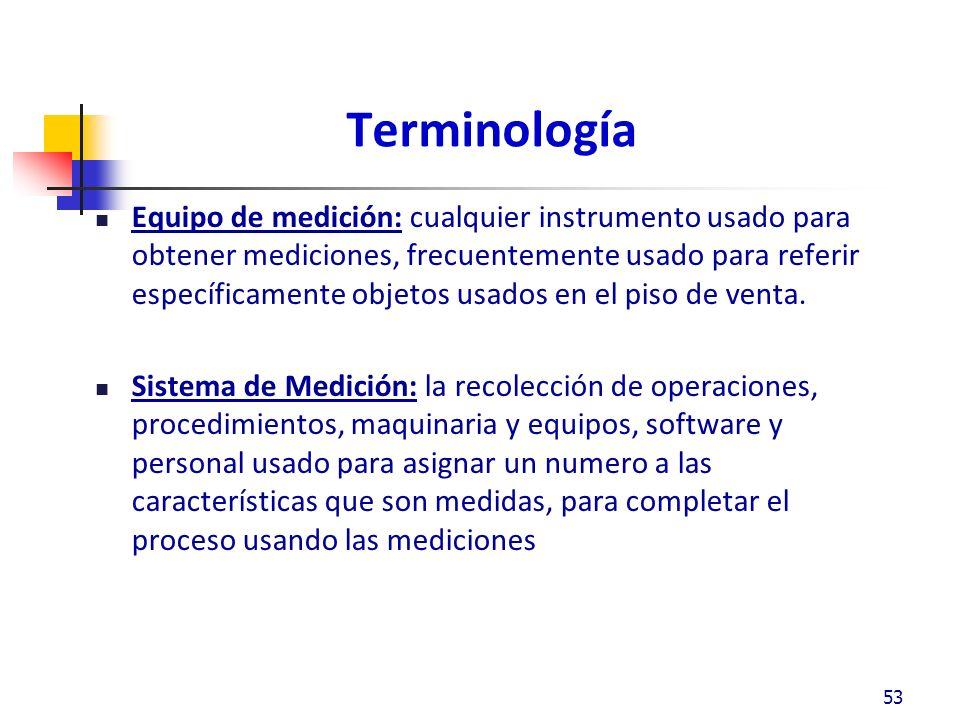 Terminología Equipo de medición: cualquier instrumento usado para obtener mediciones, frecuentemente usado para referir específicamente objetos usados en el piso de venta.