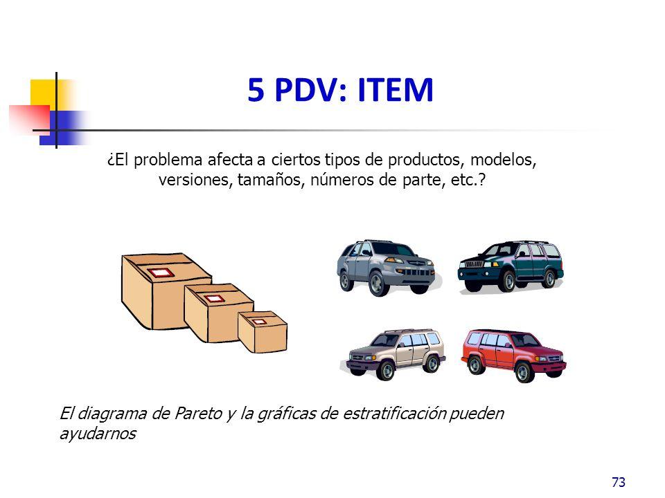 5 PDV: ITEM 73 ¿El problema afecta a ciertos tipos de productos, modelos, versiones, tamaños, números de parte, etc..