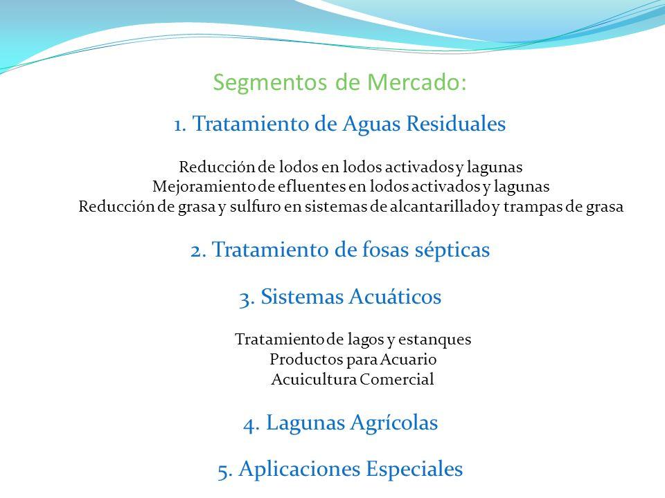 Segmentos de Mercado: 1. Tratamiento de Aguas Residuales Reducción de lodos en lodos activados y lagunas Mejoramiento de efluentes en lodos activados