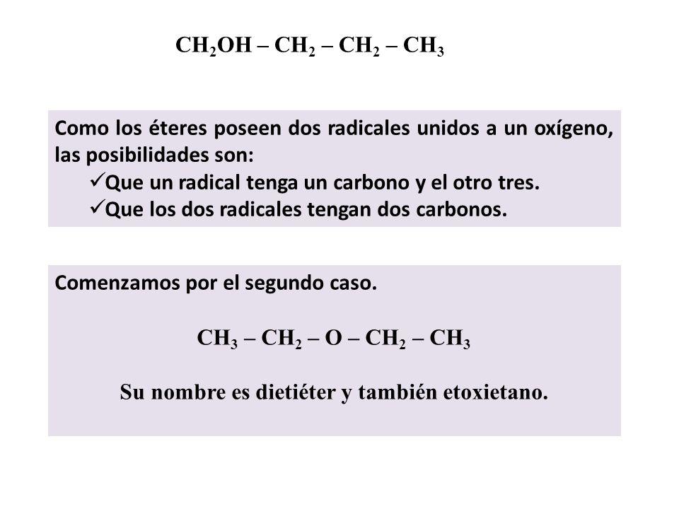 Isómeros del butanol y pentanol CH 2 OH – CH 2 – CH 2 – CH 3 Vemos que contiene 4 átomos de carbono, 10 de hidrógeno y uno de oxígeno. Todos los compu