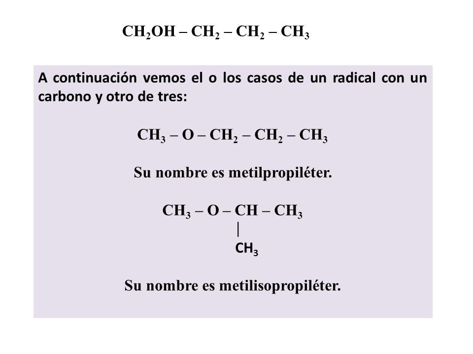 CH 2 OH – CH 2 – CH 2 – CH 3 Como los éteres poseen dos radicales unidos a un oxígeno, las posibilidades son: Que un radical tenga un carbono y el otr