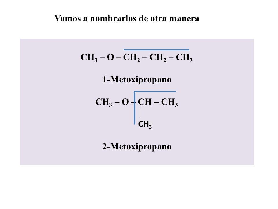 CH 2 OH – CH 2 – CH 2 – CH 3 A continuación vemos el o los casos de un radical con un carbono y otro de tres: CH 3 – O – CH 2 – CH 2 – CH 3 Su nombre