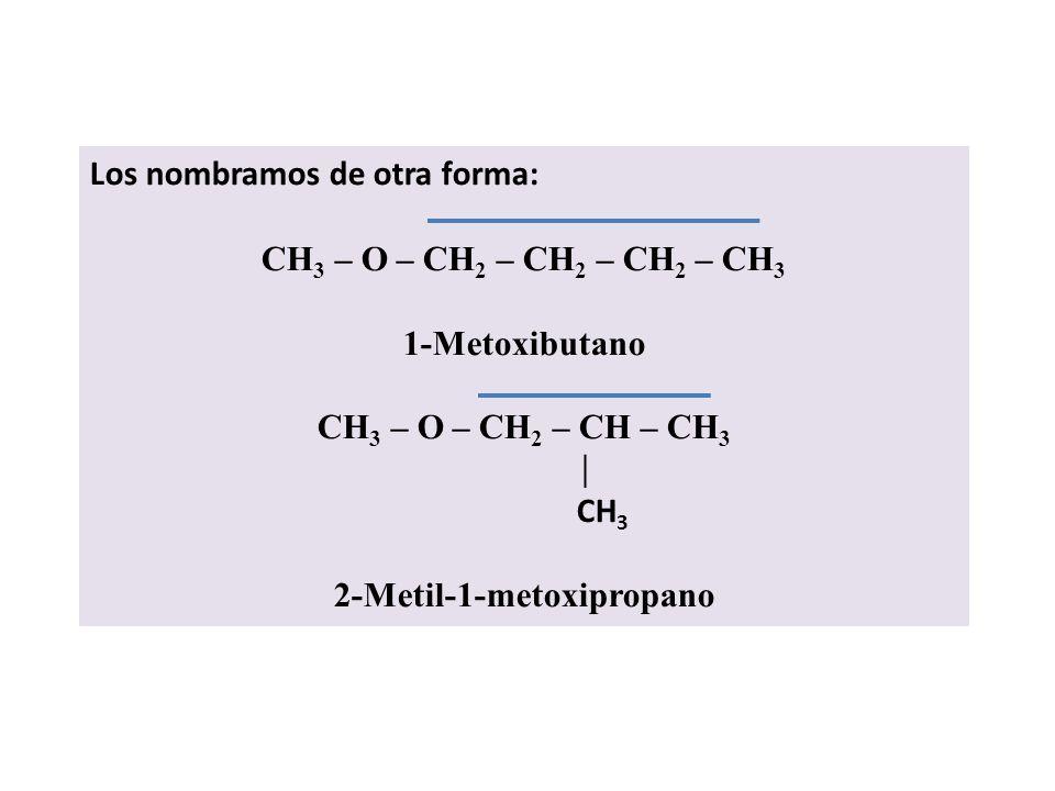 CH 3 – O – CH – CH 2 – CH 3 CH 3 Su nombre es secbutilmetiléter o sec-butilmetiléter. CH 3 CH 3 – O – C – CH 3 CH 3 Su nombre es terbutilmetiléter o t