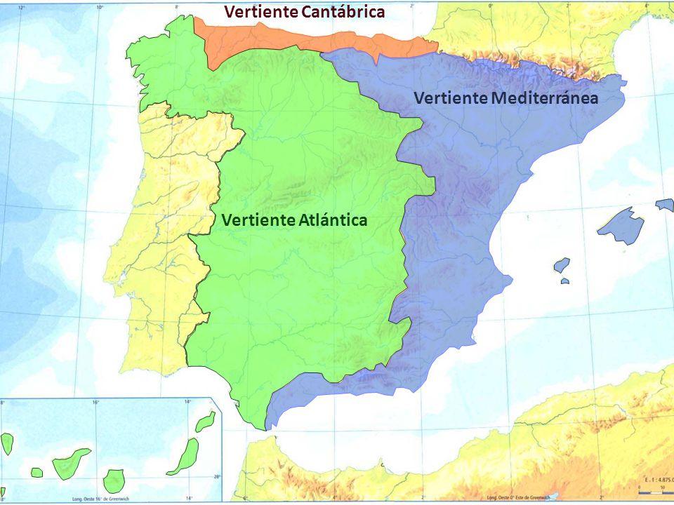 Vertiente Atlántica Vertiente Cantábrica Vertiente Mediterránea