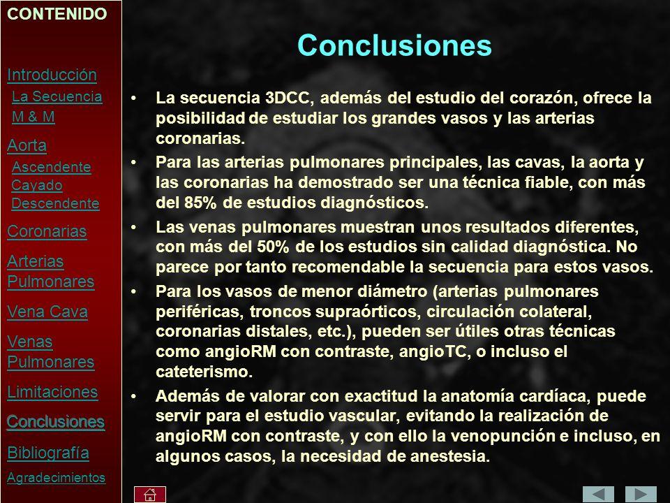 Conclusiones La secuencia 3DCC, además del estudio del corazón, ofrece la posibilidad de estudiar los grandes vasos y las arterias coronarias.