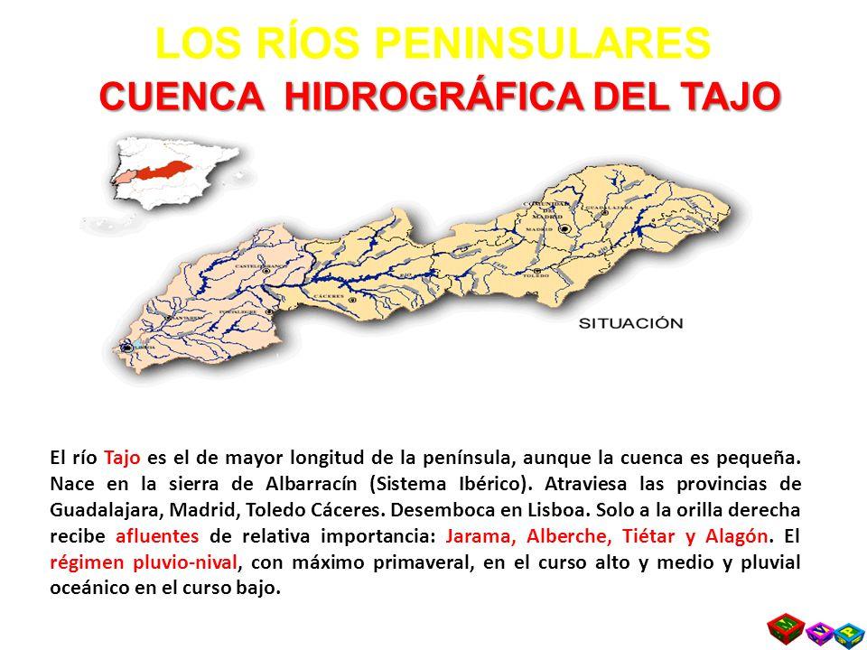 CUENCA HIDROGRÁFICA DEL TAJO LOS RÍOS PENINSULARES CUENCA HIDROGRÁFICA DEL TAJO El río Tajo es el de mayor longitud de la península, aunque la cuenca es pequeña.