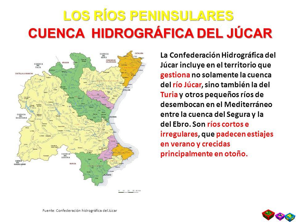 LOS RÍOS PENINSULARES CUENCA HIDROGRÁFICA DEL JÚCAR La Confederación Hidrográfica del Júcar incluye en el territorio que gestiona no solamente la cuenca del río Júcar, sino también la del Turia y otros pequeños ríos de desembocan en el Mediterráneo entre la cuenca del Segura y la del Ebro.