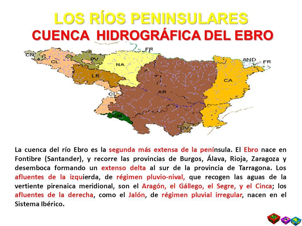 LOS RÍOS PENINSULARES CUENCA HIDROGRÁFICA DEL EBRO La cuenca del río Ebro es la segunda más extensa de la península.