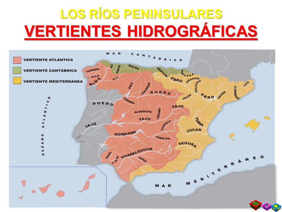 LOS RÍOS PENINSULARES VERTIENTES HIDROGRÁFICAS Fuente: Banco de Imágenes CNICE