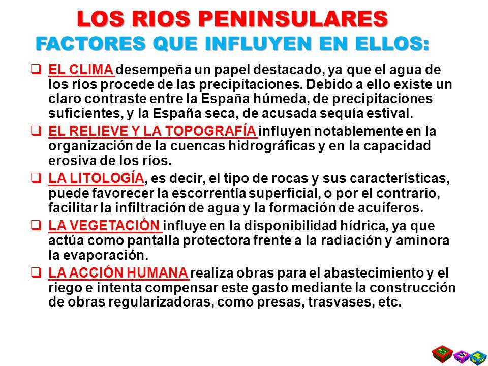 LOS RIOS PENINSULARES FACTORES QUE INFLUYEN EN ELLOS: EL CLIMA desempeña un papel destacado, ya que el agua de los ríos procede de las precipitaciones.