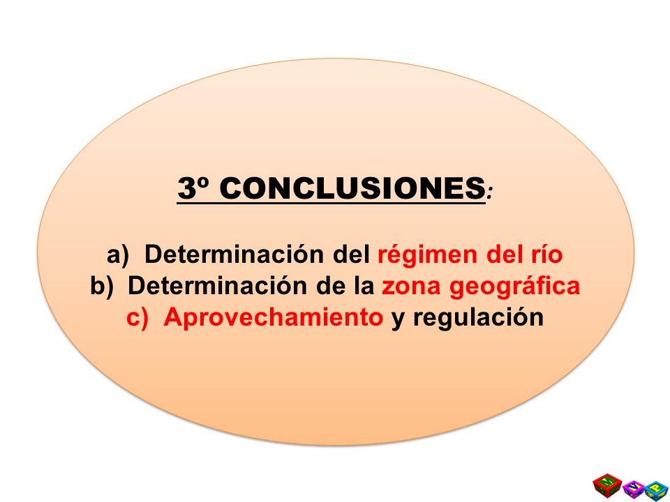 3º CONCLUSIONES : a)Determinación del régimen del río b)Determinación de la zona geográfica c)Aprovechamiento y regulación 3º CONCLUSIONES : a)Determinación del régimen del río b)Determinación de la zona geográfica c)Aprovechamiento y regulación