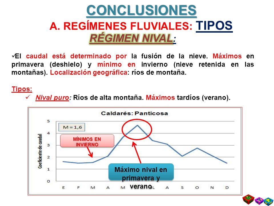 CONCLUSIONES A. REGÍMENES FLUVIALES: TIPOS Máximo nival en primavera y verano MÍNIMOS EN INVIERNO