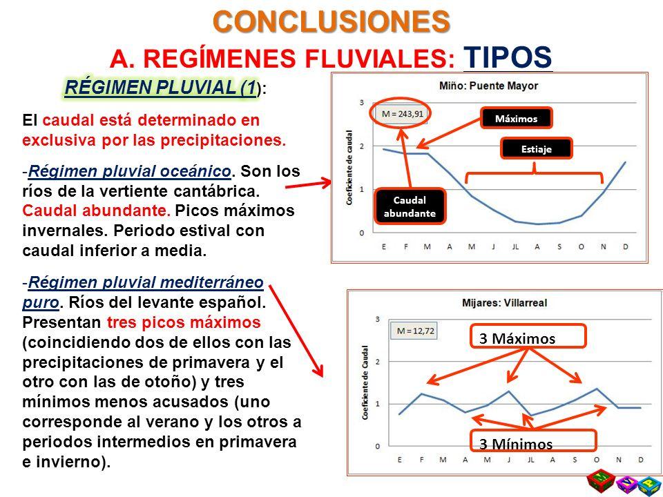 CONCLUSIONES A. REGÍMENES FLUVIALES: TIPOS 3 Máximos 3 Mínimos Estiaje Máximos Caudal abundante